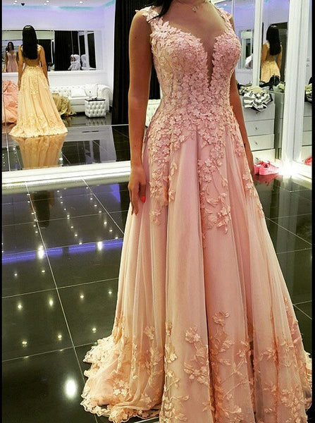 Pink Applique A-Line Prom Dresses