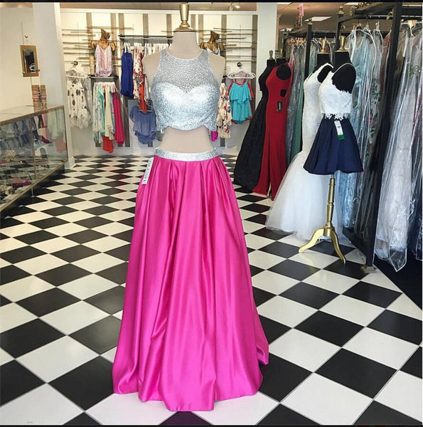 Two Piece Hot Pink Long Prom Dresses