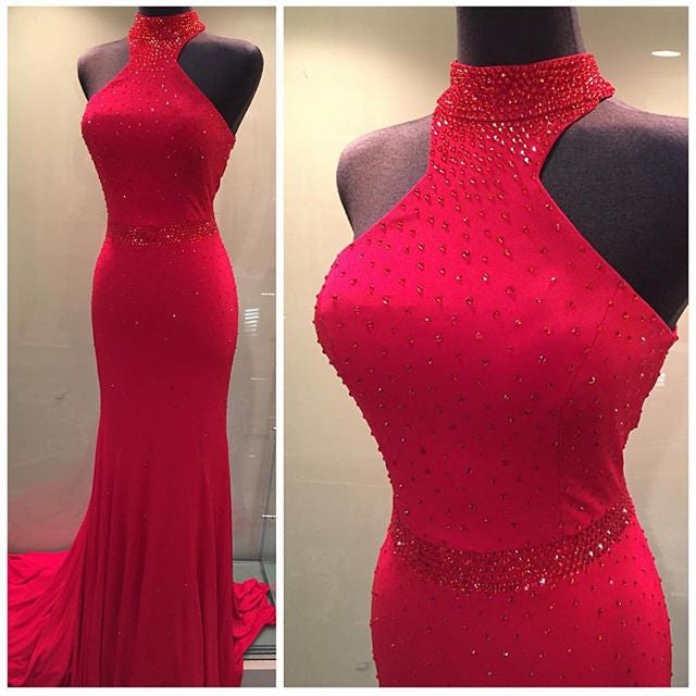 High Neck Red Beading Prom Dresses