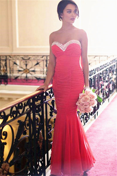 Sweetheart Red Mermaid Long Prom Dresses