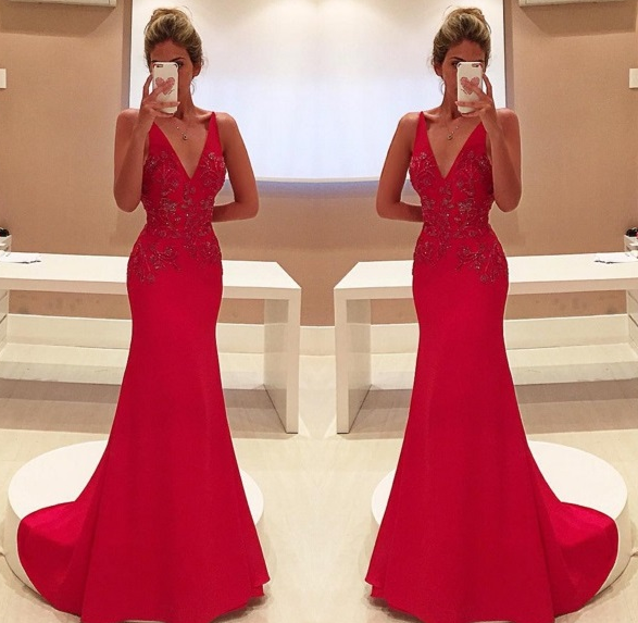 V-Neck Sleeveless Red Long Prom Dresses