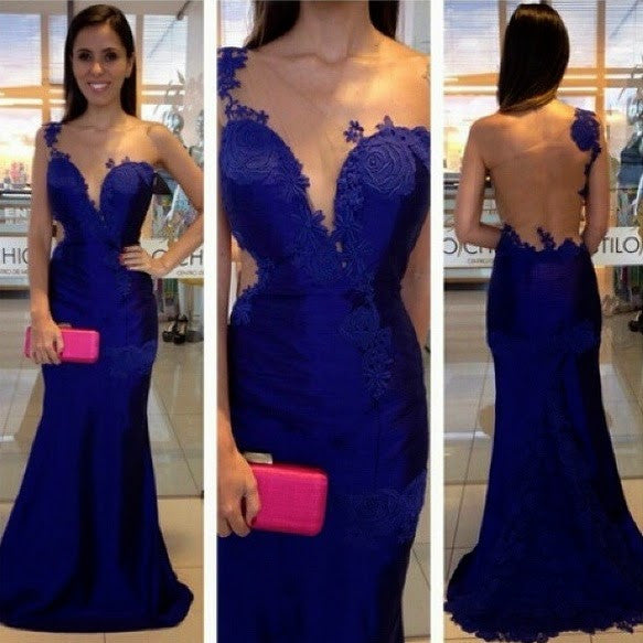 One Shoulder Royal Blue Mermaid Prom Dresses