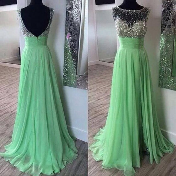 Green See Through Neck Beading Prom Dresses