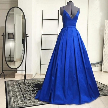 Royal Blue Satin Long Prom Dresses