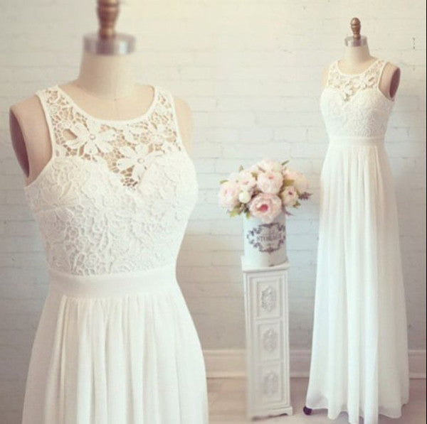 Lovely Lace Chiffon White Prom Dresses