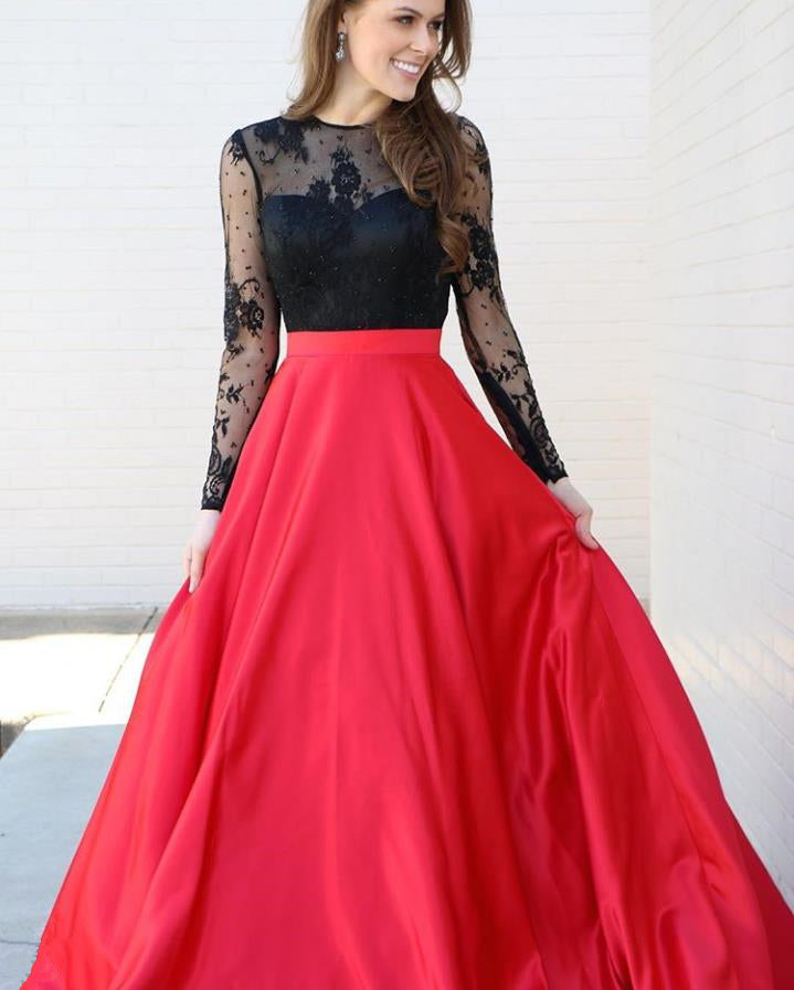 A Line Long Sleeve Lace Long Prom Dress
