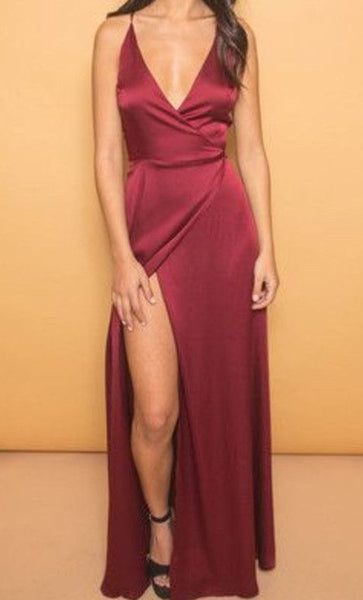 Spaghetti Strap V Neck Side Slit Burgundy Long Prom Dress