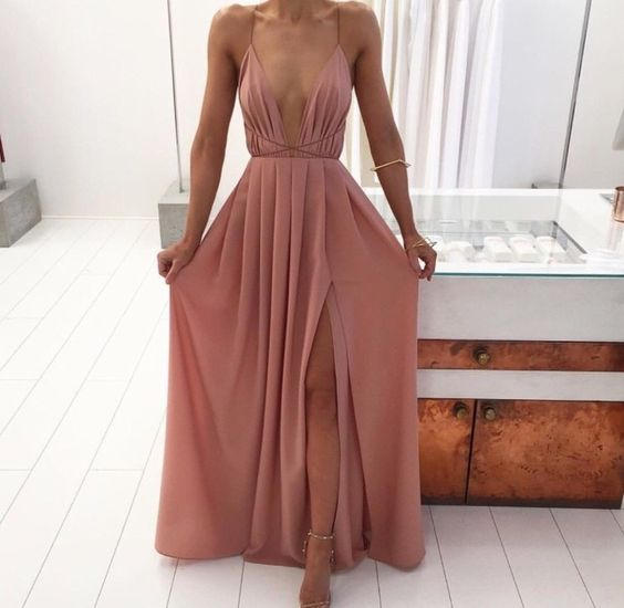 Slit Spaghetti Straps Backless Summer Dress Prom Dress