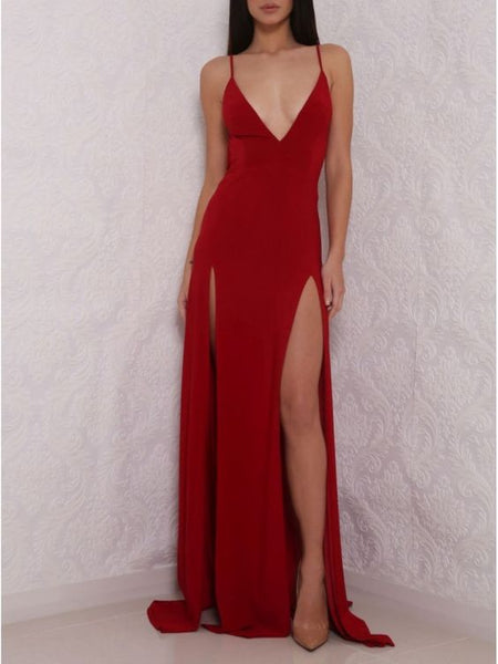 Spaghetti Straps Backless Prom Dress Black/Red Color