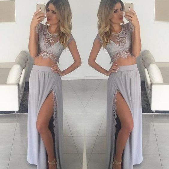 2 Piece Lace Prom Dress Summer Dress