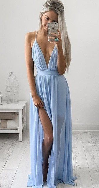 Spaghetti Strap V Neck Long Prom Dress