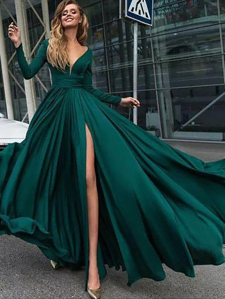 Long Sleeves Evening Dress Train Ruffles Satin Prom Dress