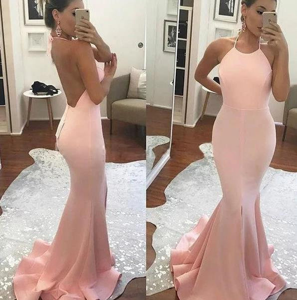 Mermaid Halter Sweep Train Pink Prom Dress