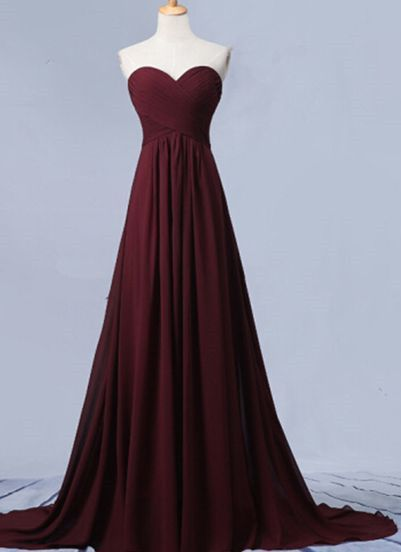 Sweetheart Burgundy Strapless Long Prom Dress