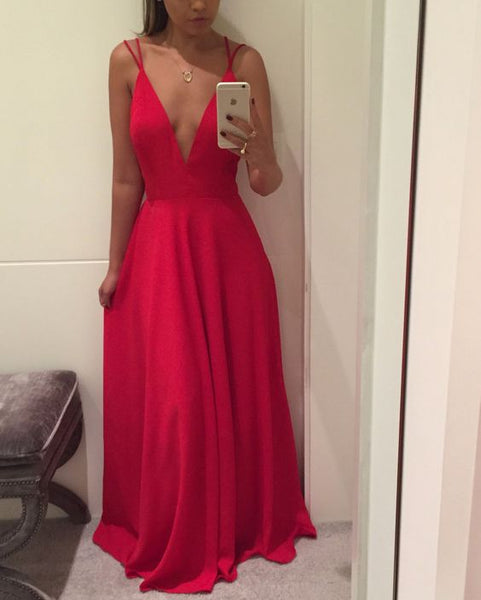 Spaghetti Strap V Neckline Red Long Prom Dress