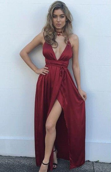 Burgundy Simple Long Prom Dress Maxi Dress