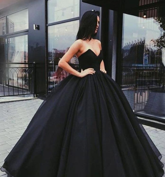 Black Strapless Long Ball Gown Prom Dress