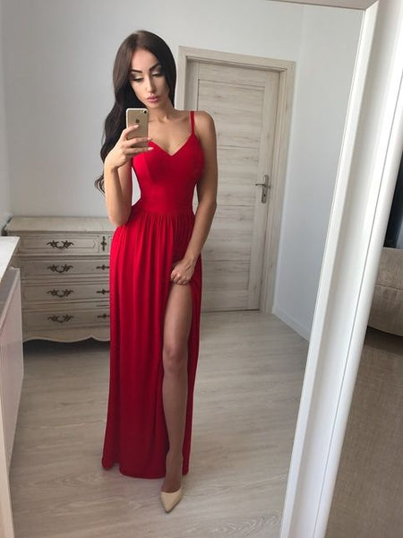 Red Sweetheart Spaghetti Strap Long Prom Dress