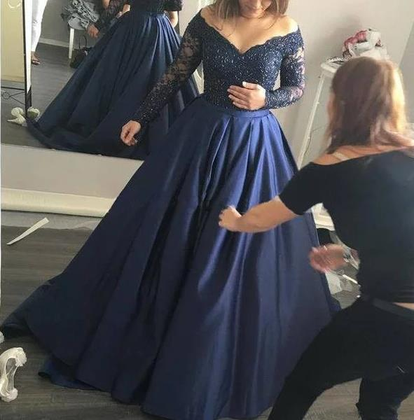 00a529946ba0 Off Shoulder Long Sleeve Ball Gown Beading Prom Dress Sweep Brush Train