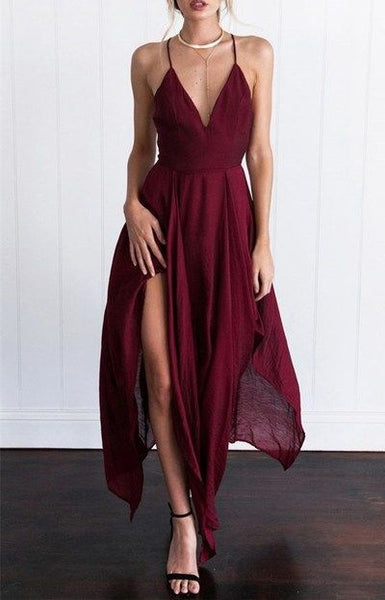 Burgundy Spaghetti Strap Long Prom Dress Maxi Summer Dress