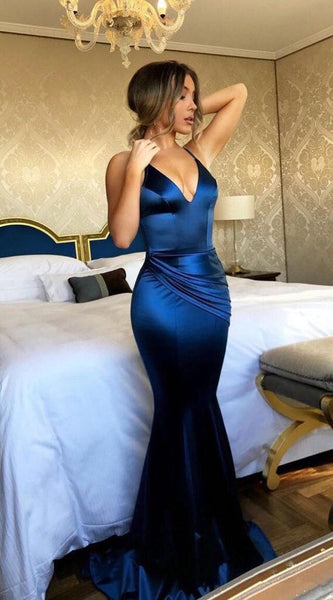 Blue Backless Mermaid Simple Long Prom Dress