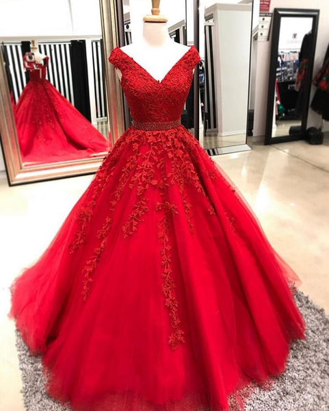 A Line Red Cap Sleeved Tulle Lace Prom Dress