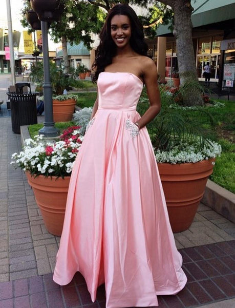 A Line Strapless Two Pockets Pink Prom Dress