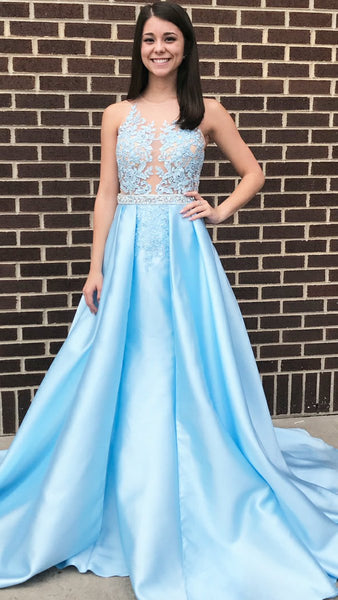 A Line Blue Sky Lace Long Prom Dresses