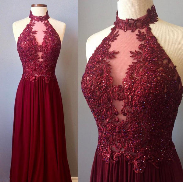 A Line Burgundy Lace Beading Long Prom Dresses