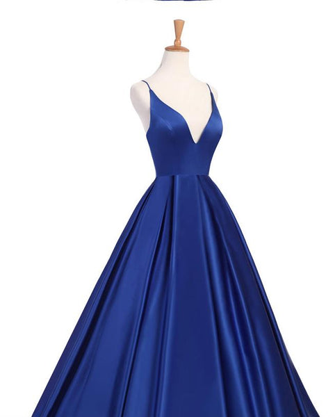 Evening Dress Blue Prom Dress Spaghetti Strap Long Dress