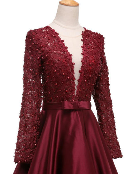 Evening Dresses bowknot Burgundy Beaded Prom Dress