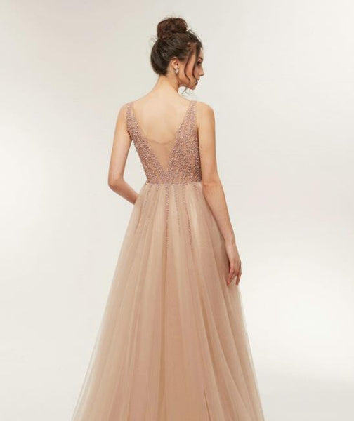 Evening Dress Champagne Round Neck Tulle Prom Dress