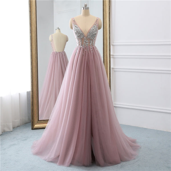 Evening Dresses Tulle Backless Beaded Long Prom Dresses
