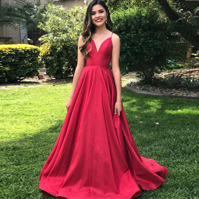 Prom Dresses Straps Red Evening Dresses Custom Simple Satin