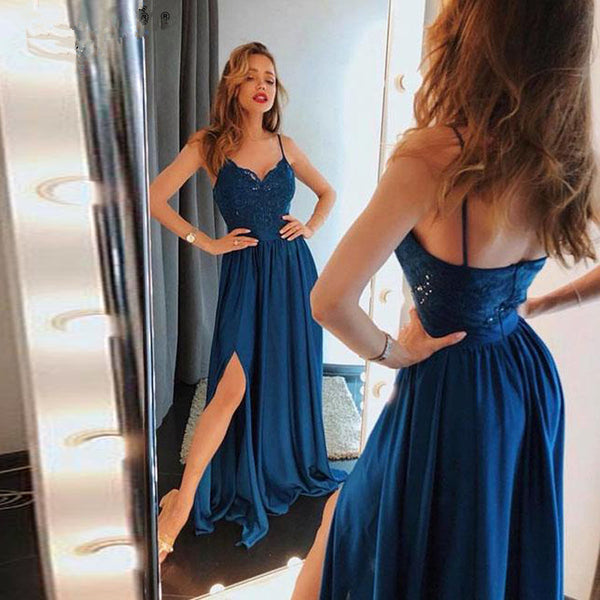 Evening Dresses Dark Blue Lace Prom Dress Slit With Appliques