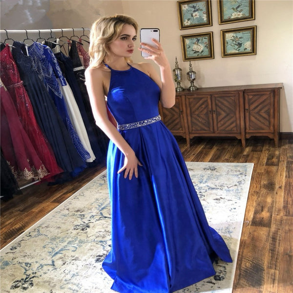 Prom Dresses Royal Blue Evening Dress Beaded Long Dress
