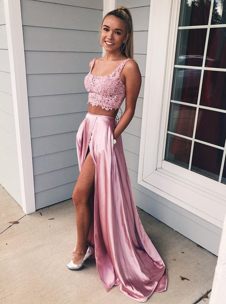 Evening Dresses Two Piece Satin Prom Dresses Slit With Pocket