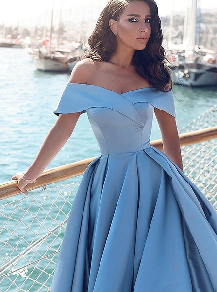 Evening Dresses Blue Off the Shoulder Long Prom Dresses