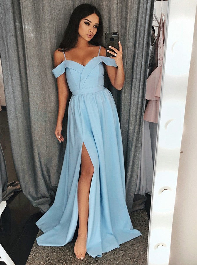 Evening Dresses Slit Straps Long Simple Prom Dresses