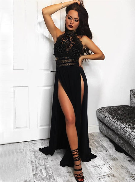 Evening Dresses Black Halter Appliques Prom Dresses Slit
