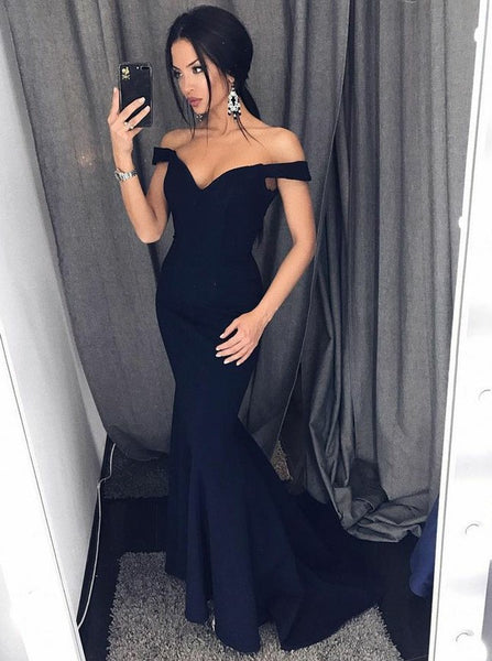 Prom Dresses Navy Blue Evening Dress Off the Shoulder
