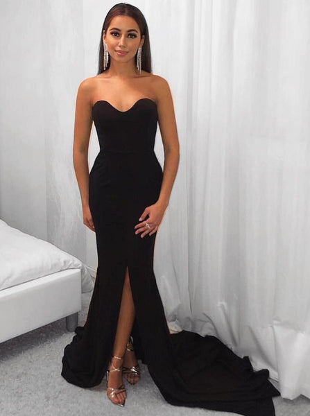 Evening Dresses Slit Strapless Black Long Prom Dresses