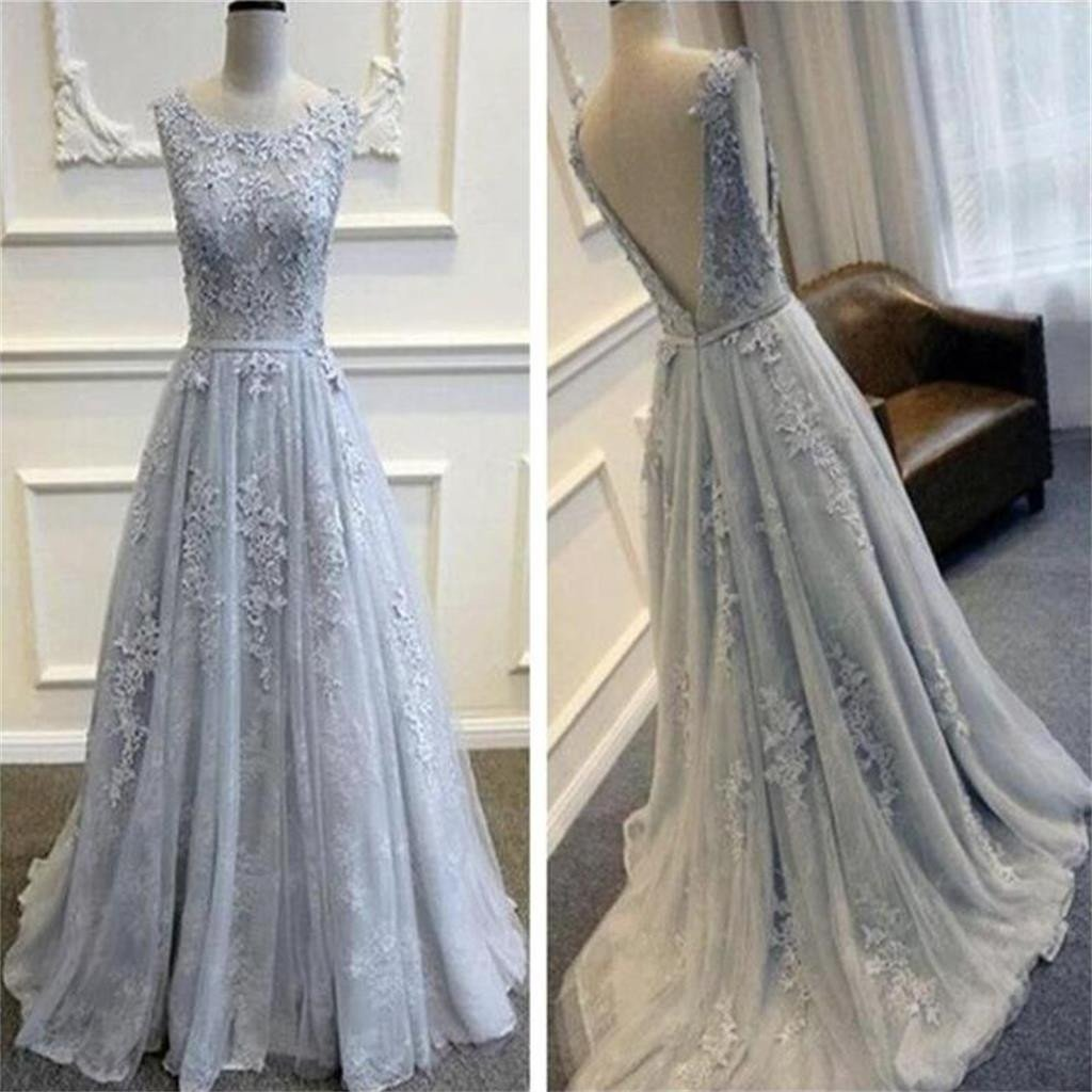 Evening Dresses Gray Round Neck Prom Dresses Appliques