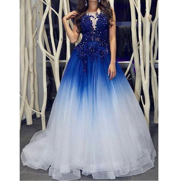 Evening Dress Blue Beaded Tulle Long Long Prom Dress