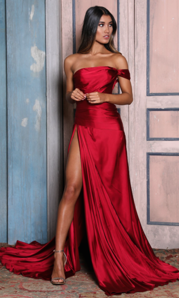 Burgundy Strapless Prom Dress Evening Dress Long Slit