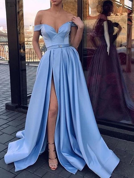 Evening Dresses Sky Blue Satin Prom Dress Off The Shoulder Slit