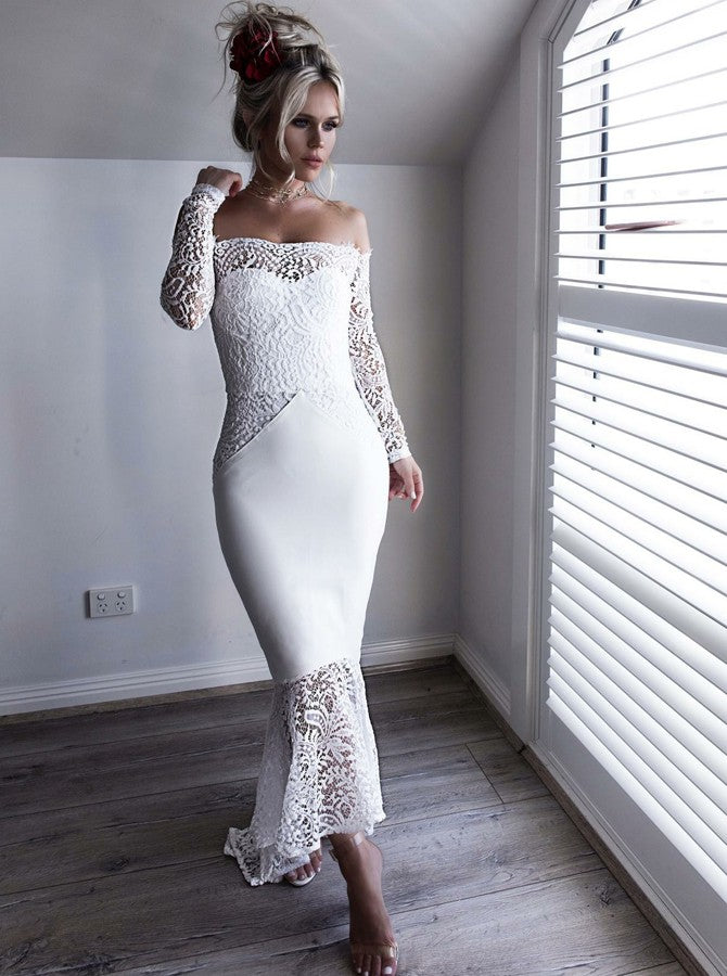 Evening Dresses White Prom Dress With Long Sleeves