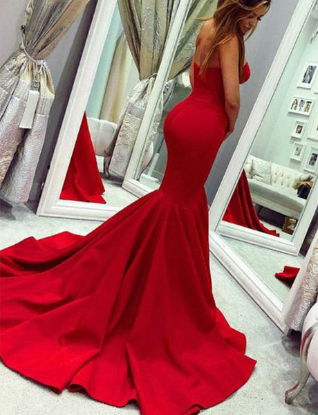 Evening Dress Satin Strapless Mermaid Red Prom Dresses
