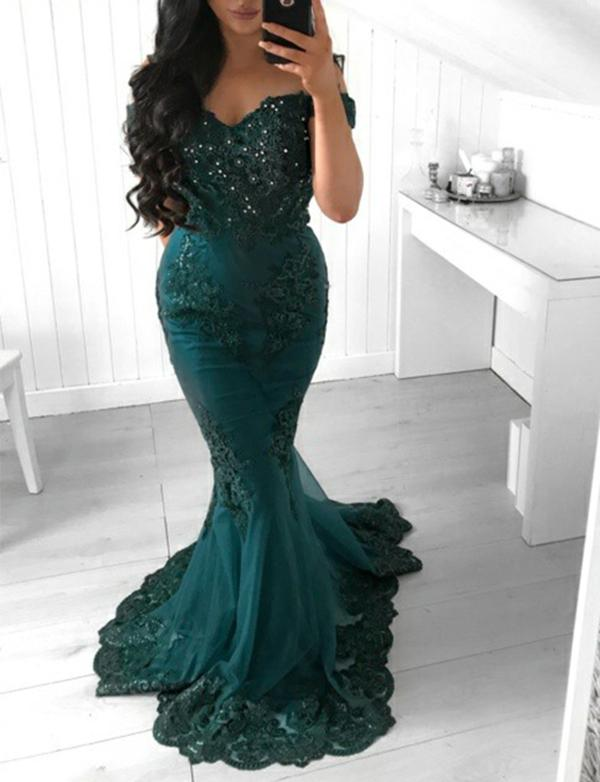 Evening Dress Mermaid Nary Green Prom Dress Appliques
