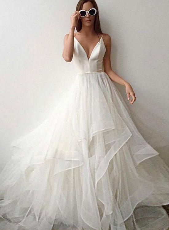 Evening Dress Tulle White Backless Straps Prom Dresses